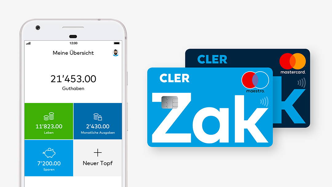 Mastercard und Maestro Zak. Printscreen cler.ch, Zugriff vom 19.03.2018, Bank Cler